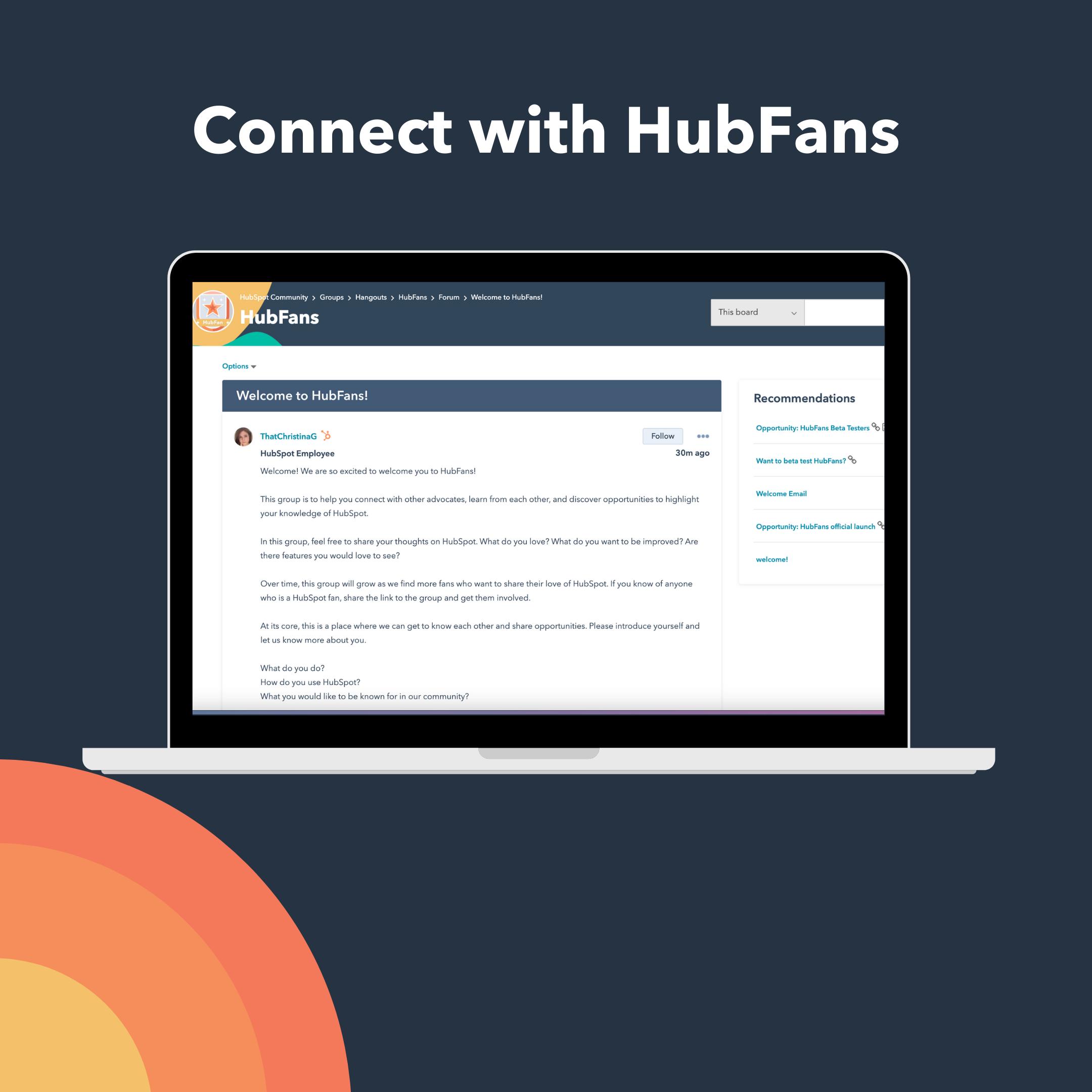 HubFans Community group shown on a laptop