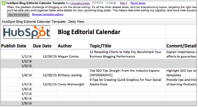 Blog Editorial Calendar Step One Design