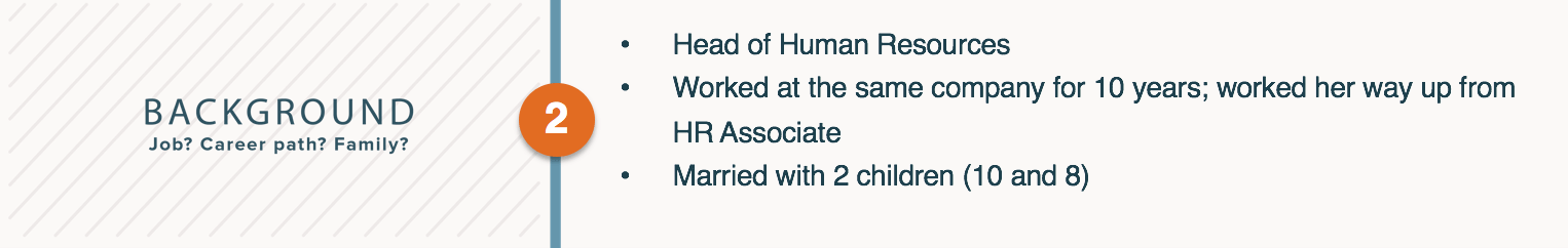 A Personas background information includes their job, career history, and family