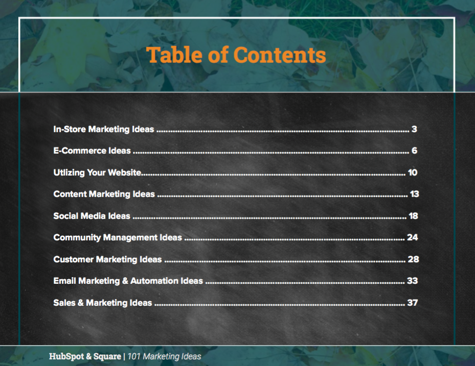 Table of Contents Preview