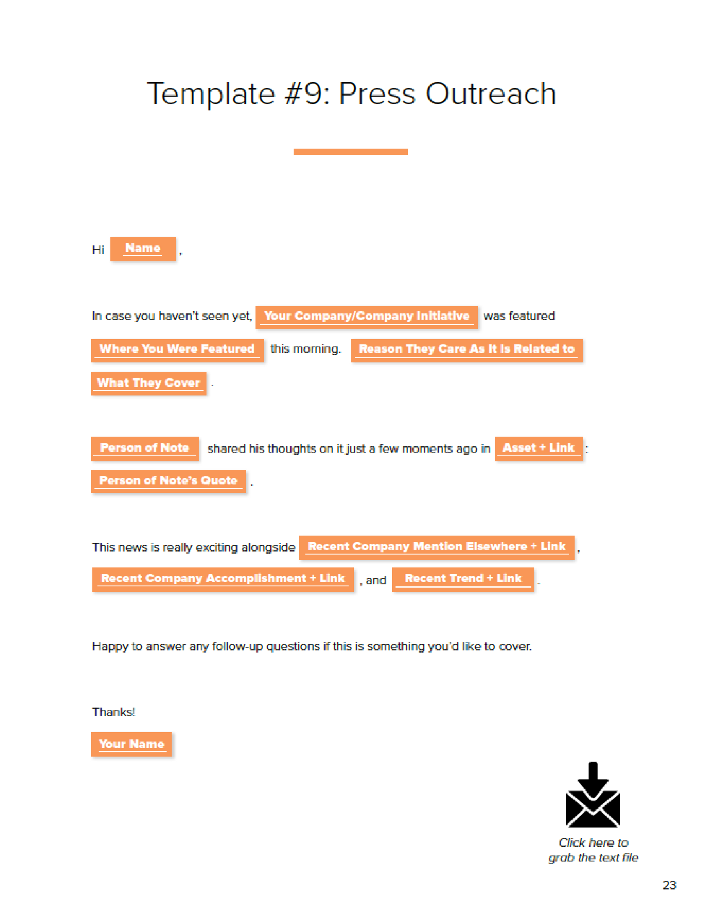 Email template for press outreach for startups and entrepreneurs