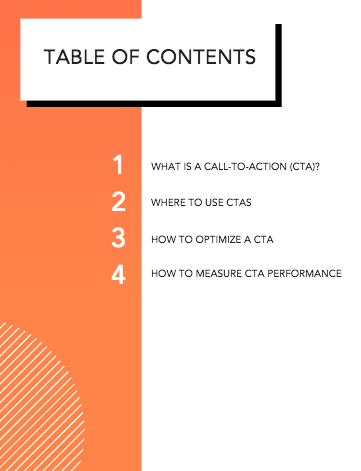 Call-to-Action Table of Contents