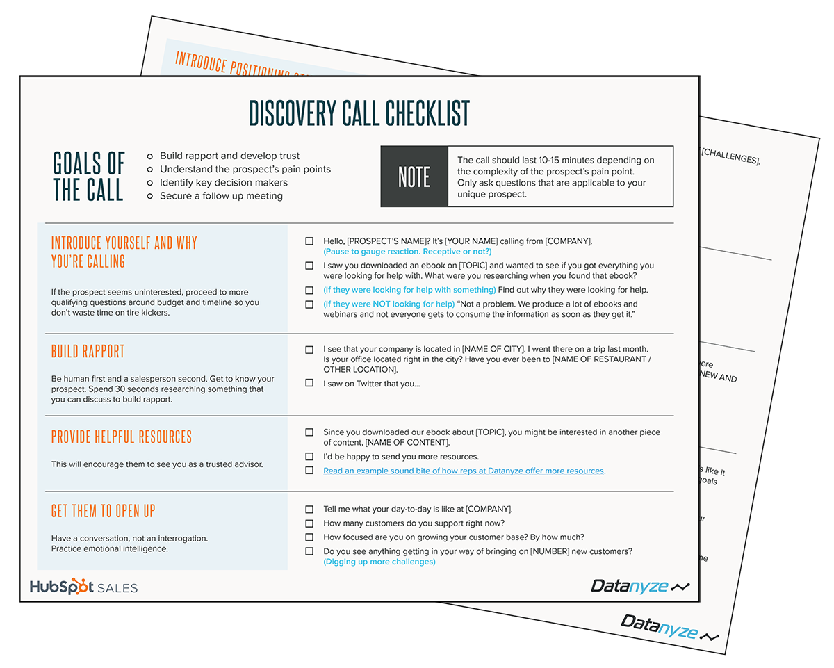 Discovery Call Checklist
