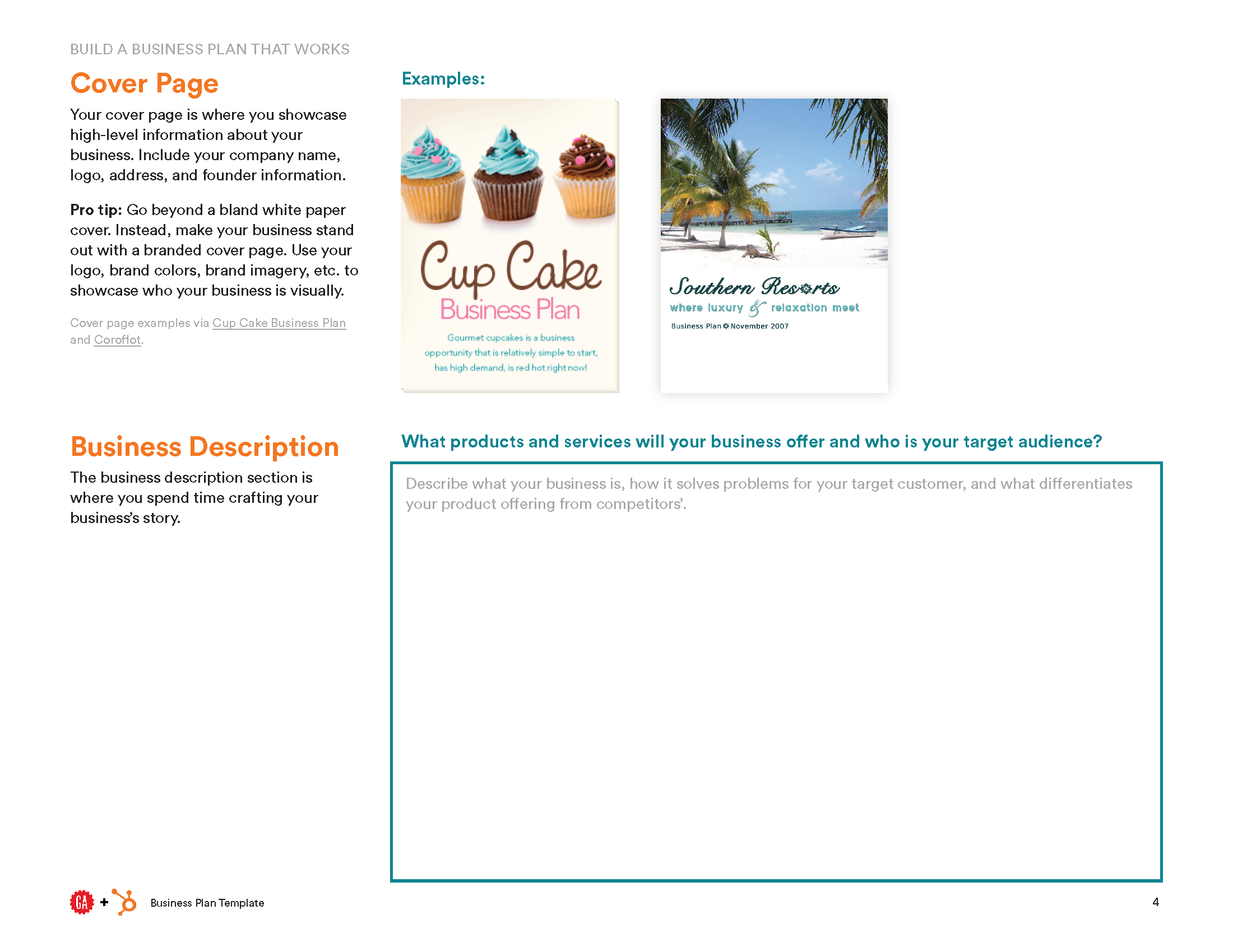 Business Plan Template HubSpot General Assembly - Creating a business plan template