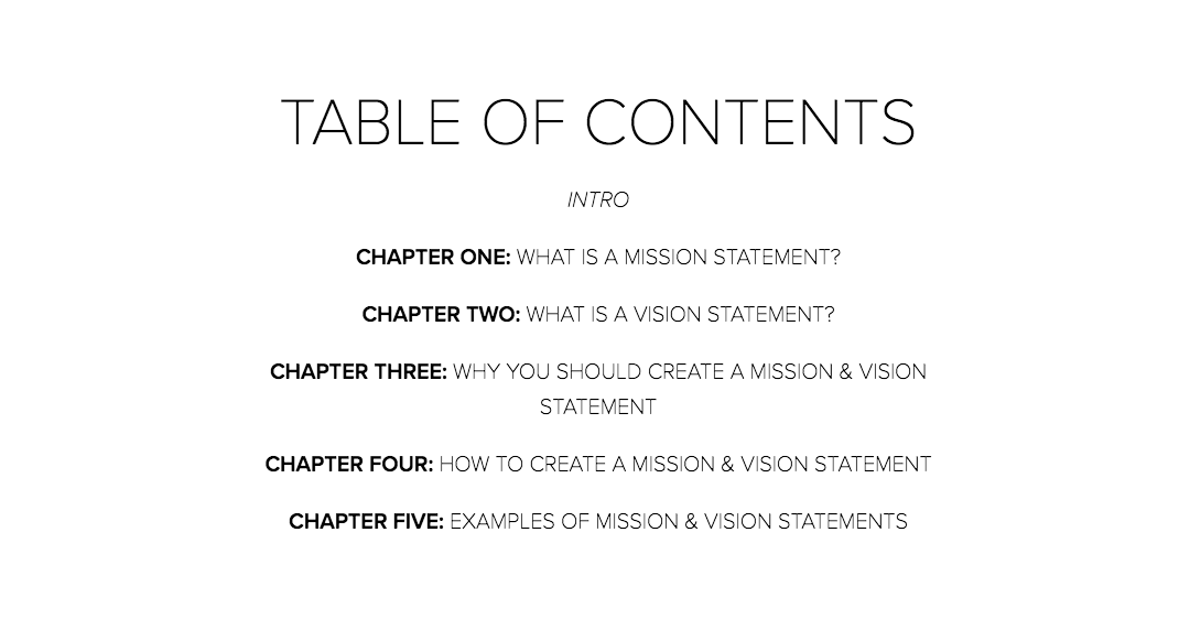Mission and Vision Table of Contents