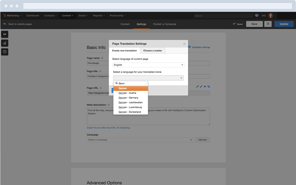 Multi-Language Content Management