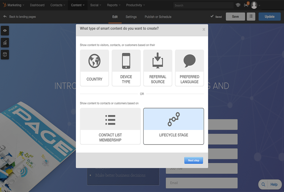 HubSpot Landing Page Smart Content