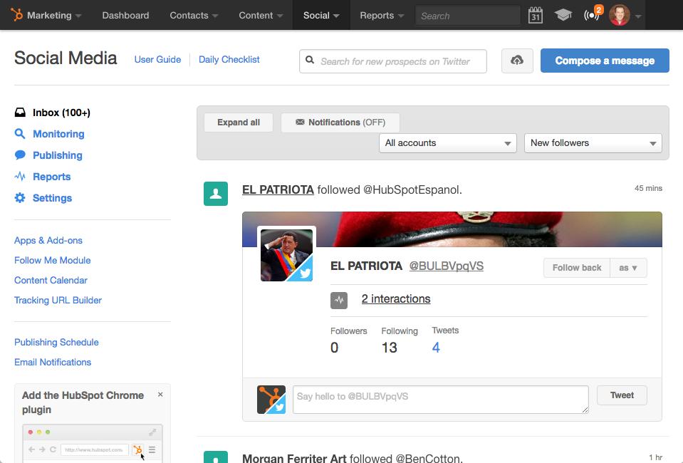 HubSpot's Social Inbox Tool