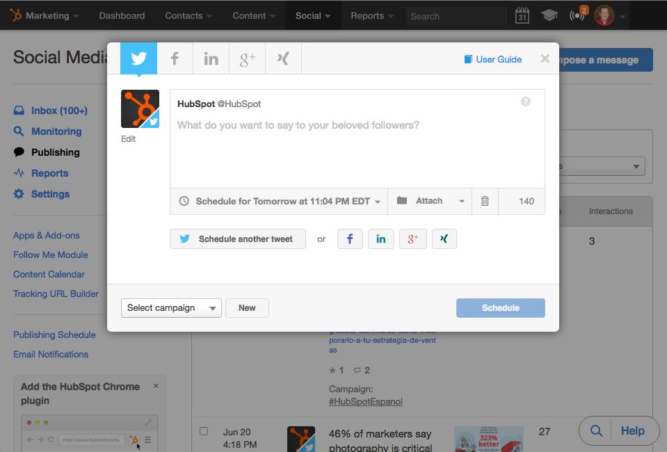 HubSpot's Social Media Publishing Tools