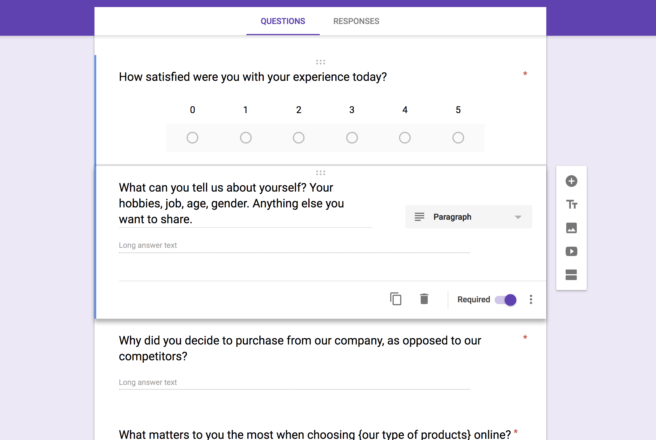 customer satisfaction survey template - open ended