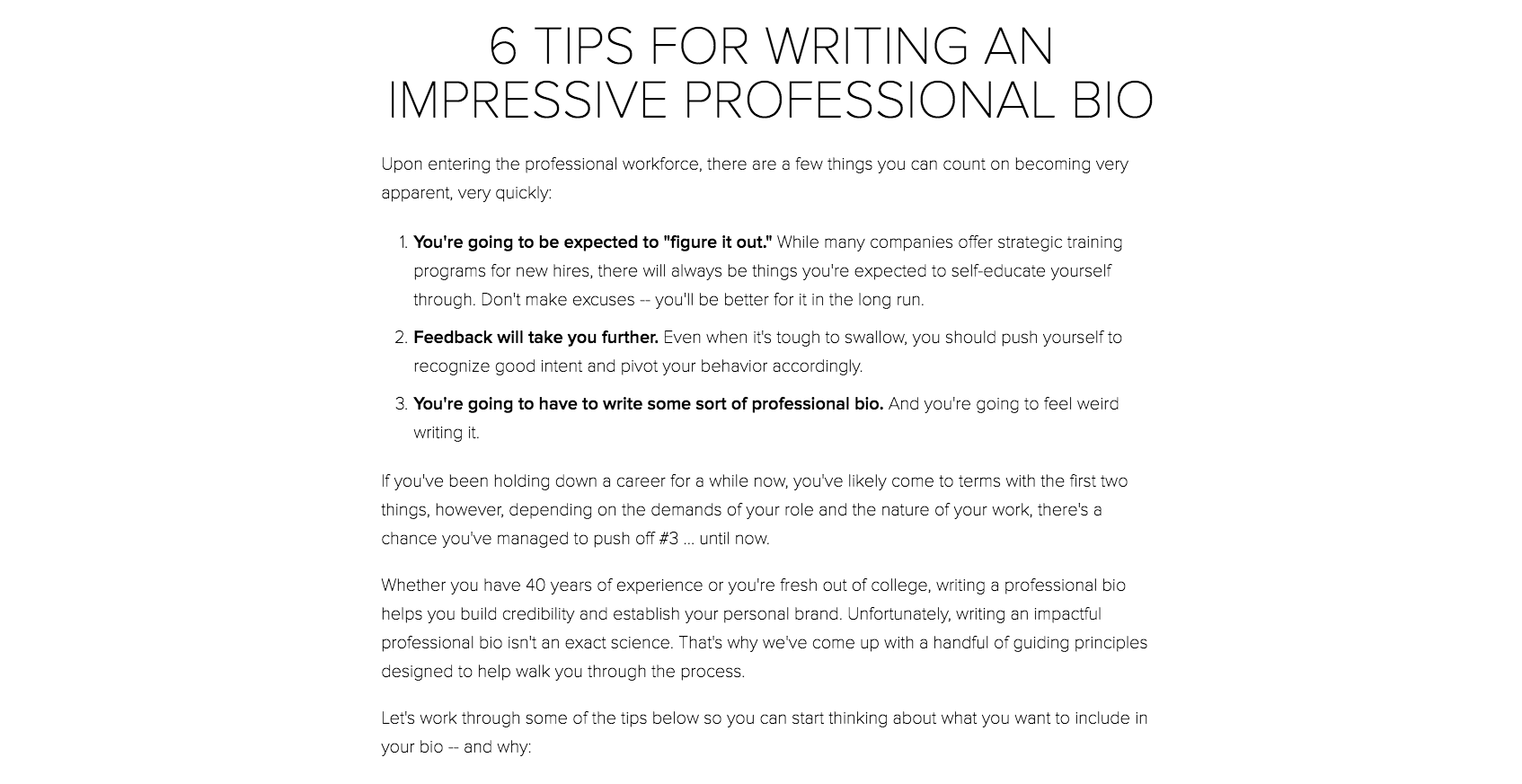 6 Tips for Writing a Professional Bio