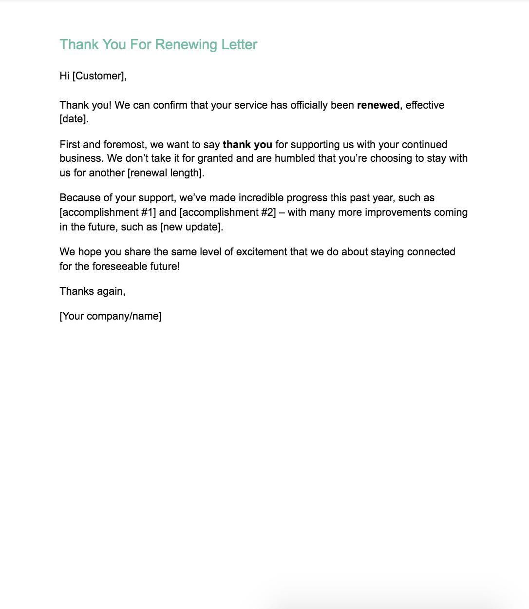 renewal letter