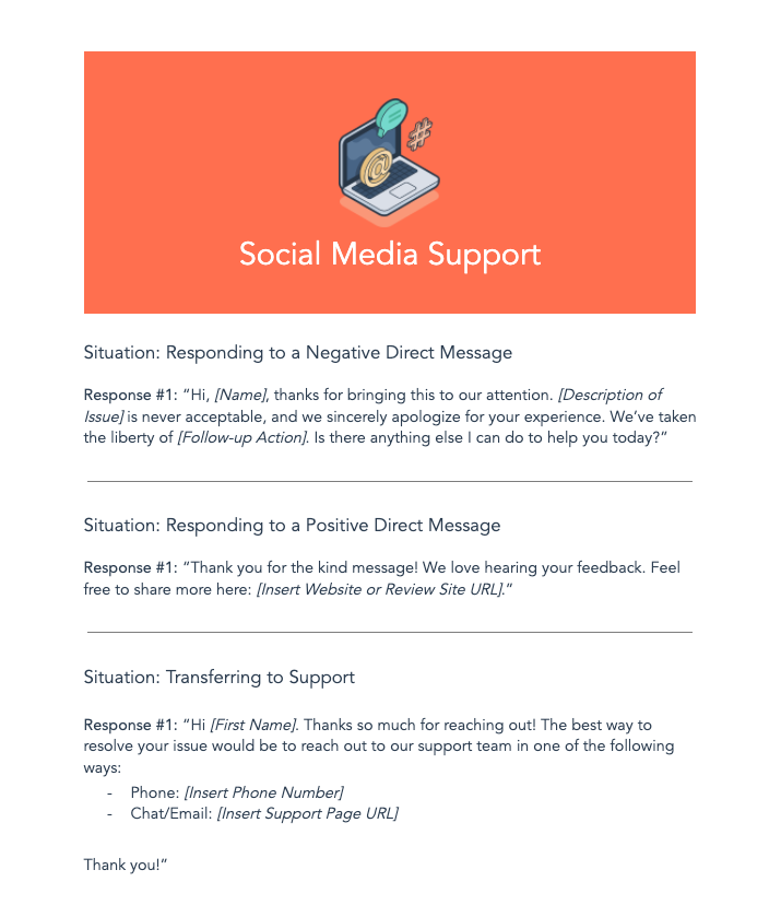social media support script templates