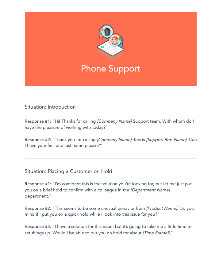 phone support script templates
