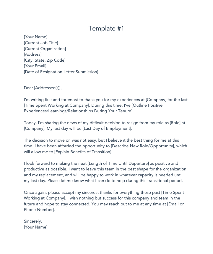 resignation letter template free
