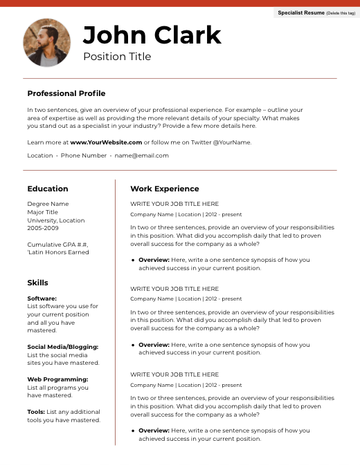 resume template with headshot