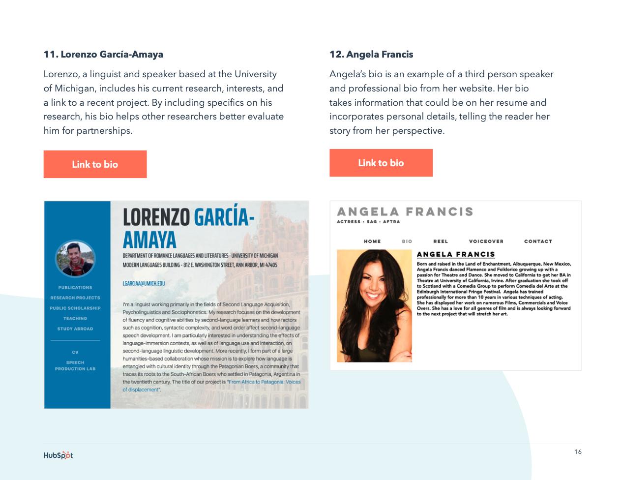 website professional bio examples