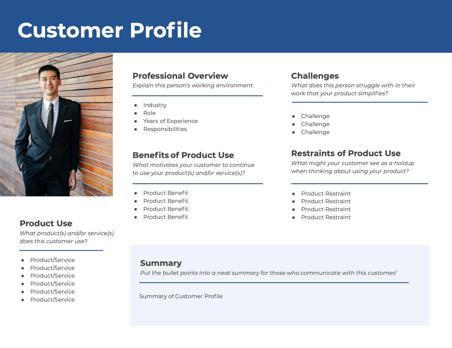 designed customer profile template