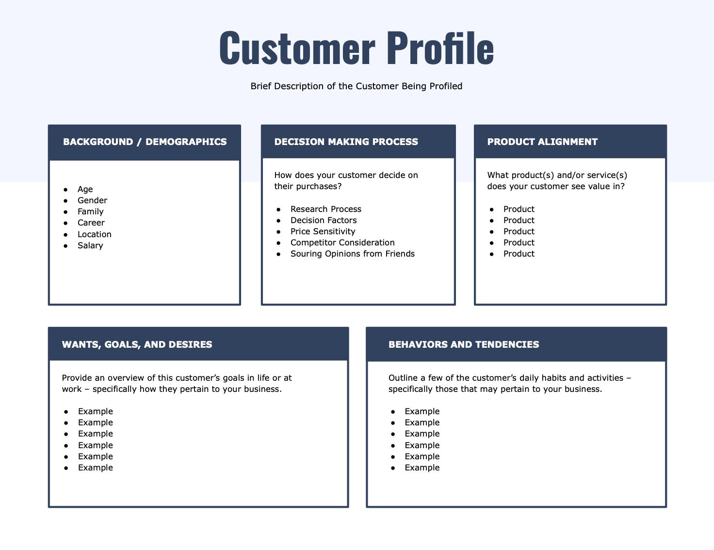simple customer profile template
