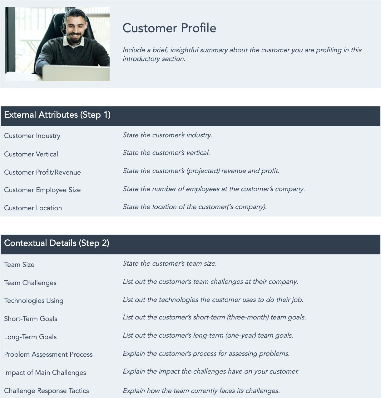 free customer profile template google docs
