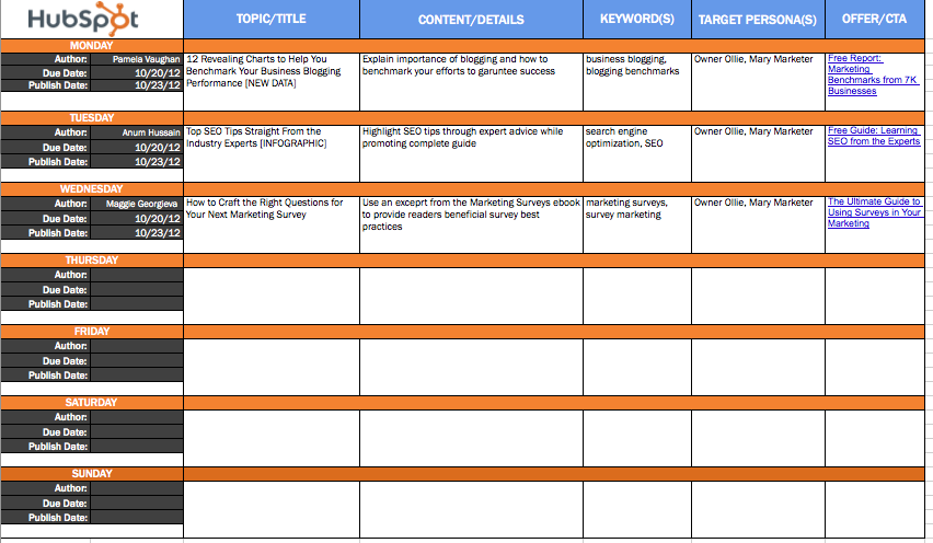 Blog Editorial Calendar Template
