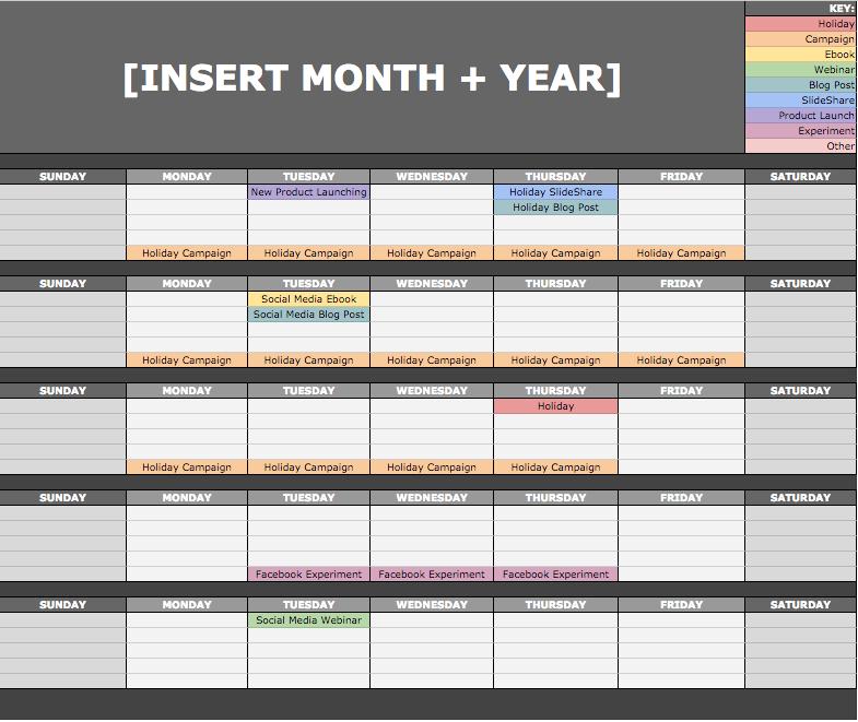 Social Media Template - Calendar View