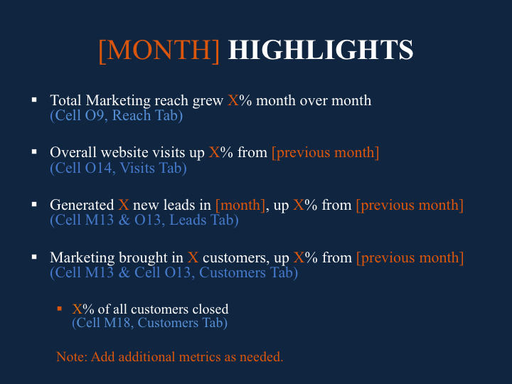 Monthly Marketing Reporting Template Free Download