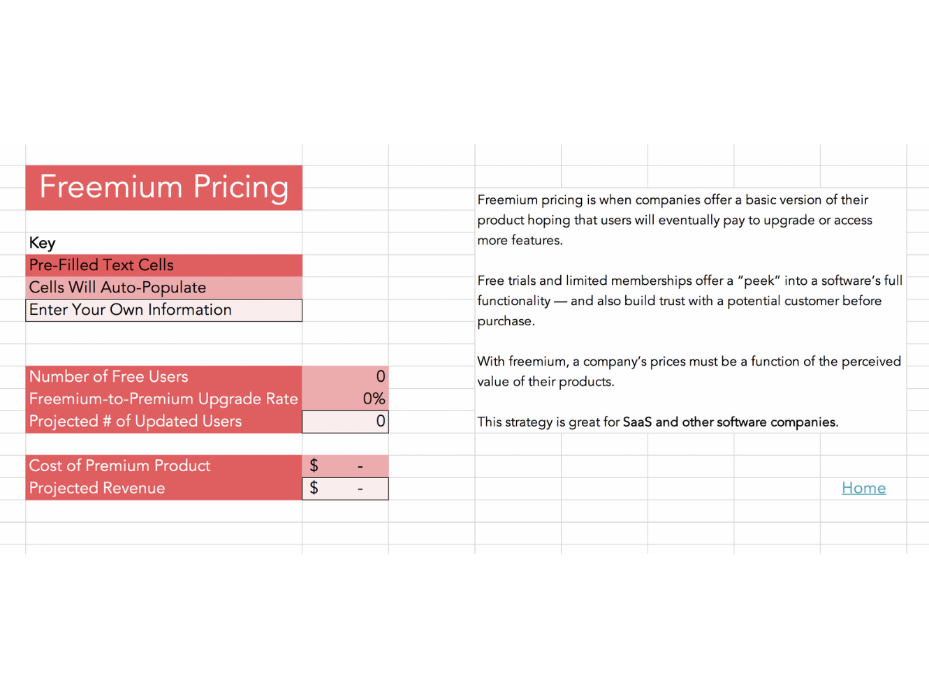 freemium pricing calculator template