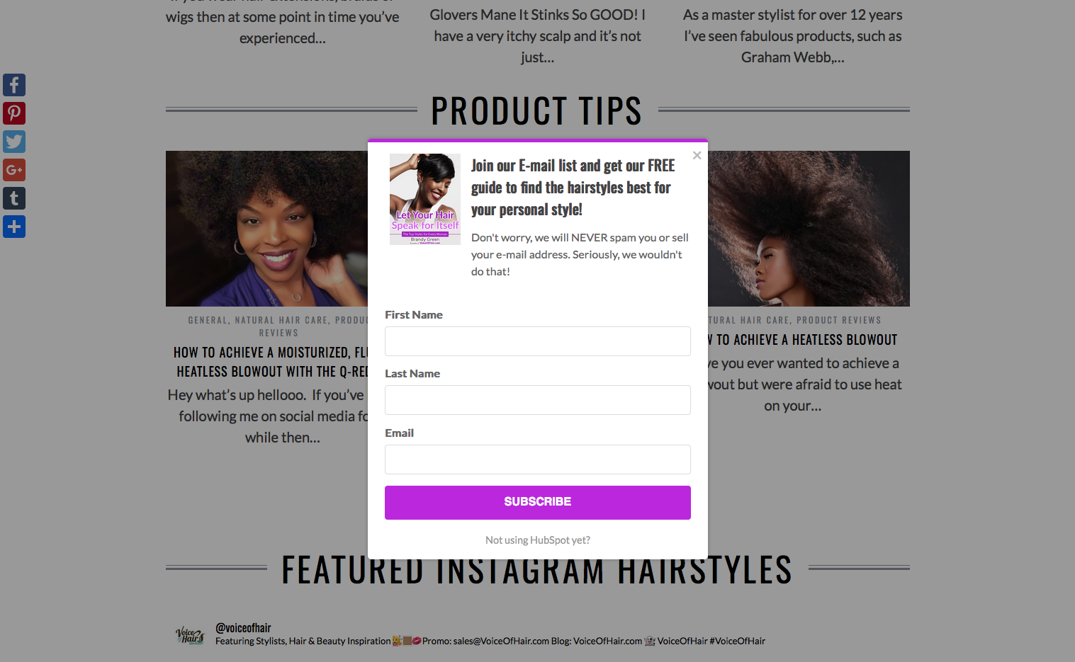 Voice of Hair Overlay Pop-up