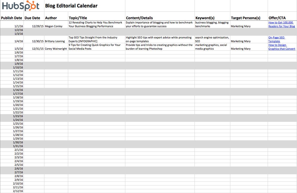Editorial Calendar Templates - Content marketing calendar template