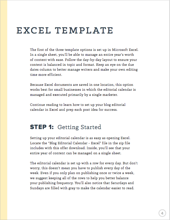 blog editorial calendar excel template instructions