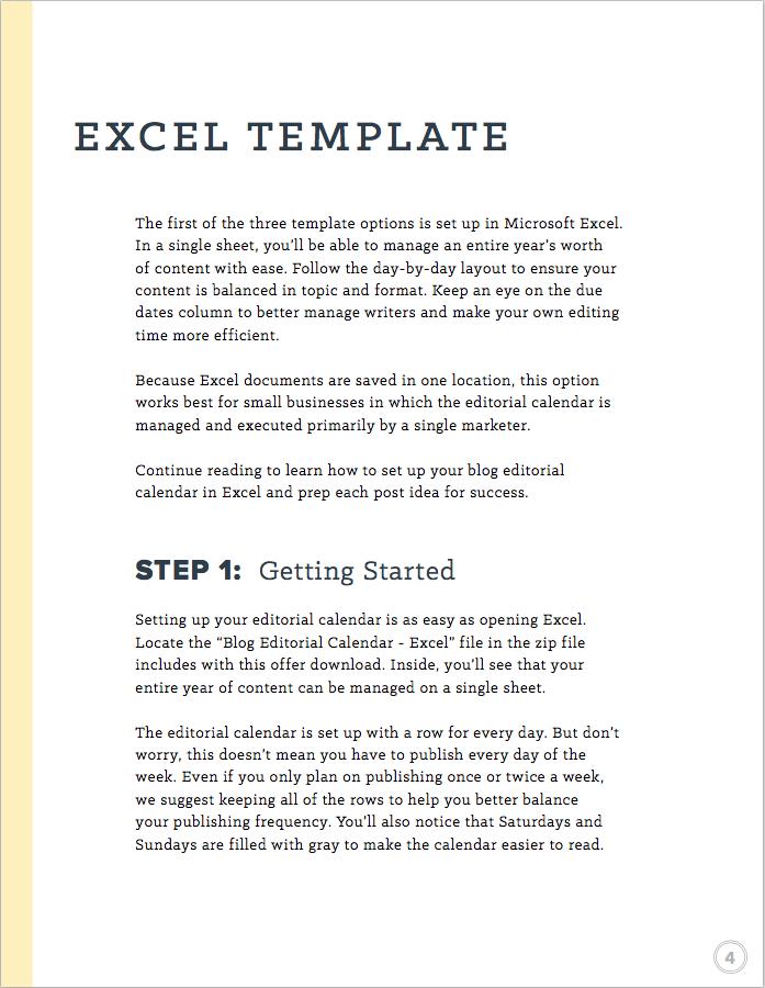 blog editorial calendar excel template instructions