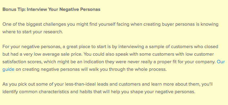 bonus tip for negative personas