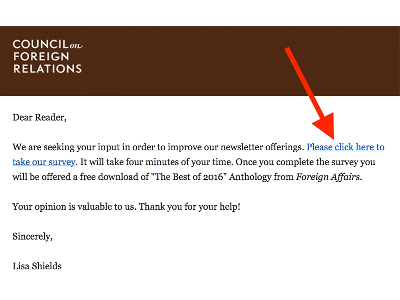 email call-to-action example