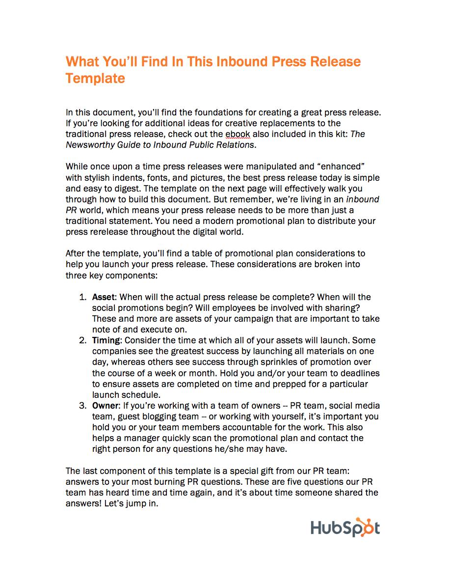 inbound press release templates