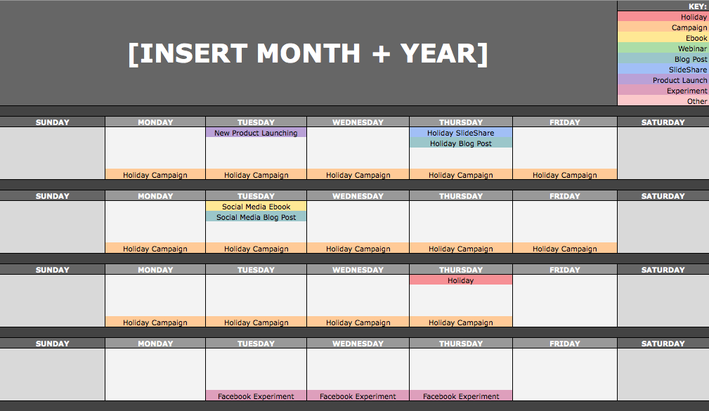 Social Media Calendar Monthly View 2