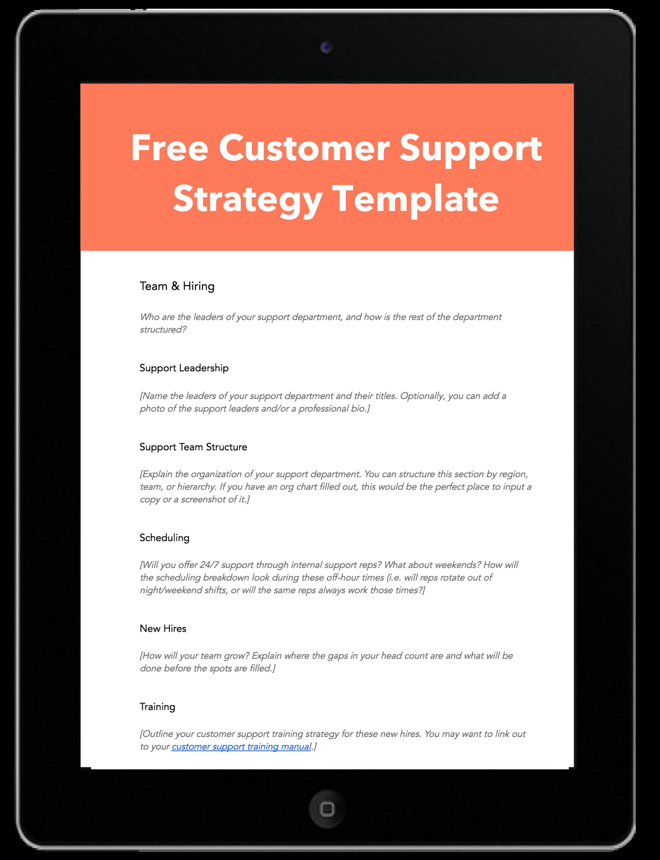 customer support planning